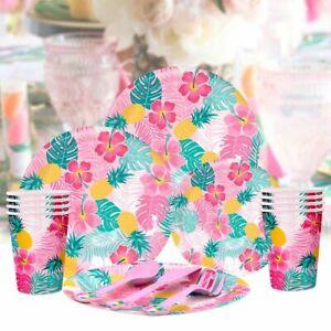 Hawaiian Tropical Plate Cup Tableware Supplies Birthday Luau Party Decoration