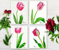 Pink tulips. Spring Set. Watercolor Original, flower, floral, spring, botanical