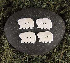 Zen Canyon White Large Elephant Shaped 2-hole Carved Yak Bone Buttons 4 Pack