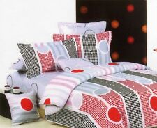 New Red White Black Grey 100% Cotton Reversible KING Size Quilt Doona Cover Set
