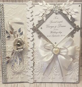 Handmade Personalised LARGE Wedding/Anniversary/Engagement Card comes Gift Boxed