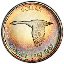 1967 CANADA GOOSE SILVER DOLLAR PCGS PL65 SUBTLE TONED RAINBOW COLOR UNC (DR)