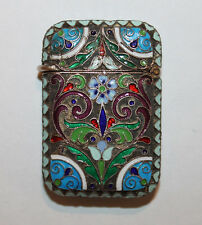 Antique Russian Silver 88 Kokoshnik Mark Enamel Match Safe