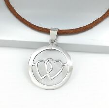 Silver Stainless Steel Love Heart Pendant Womens Brown Leather Choker Necklace