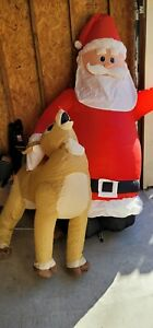 Santa Claus Rudolph the reindeer inflatable used not inflating RARE