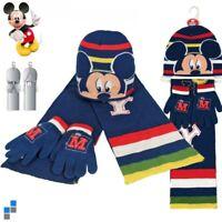DISNEY Kinder Winter 3er Set Mütze Schal Handschuhe Mickey Mouse Jungen Mädchen