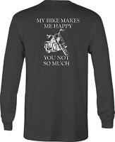 Motorcycle Long Sleeve Tshirt My Bike Happy shirt for Men or Women