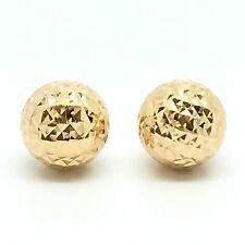 18K Solid Yellow Gold 8mm Diamond Cut Ball Stud Earrings.1.45 Grams