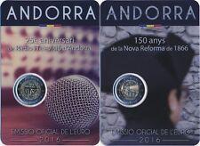 """Andorra 2x 2 Euro Gedenkmünze 2016 """"Rundfunk + Neue Reform 1866"""" in Coincard"""