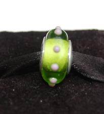 "Genuine Pandora Murano Glass Bead ""Seeing Spots"" Lime Green/Mauve 79626"