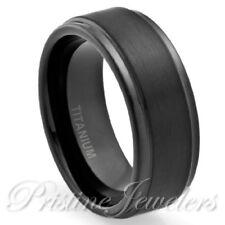 NEW 8mm Black Titanium Men's Brushed Center Engagement Wedding Band Promise Ring