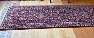 "2'6""x 12' Karastan Red Sarouk 785 Design Clean undamaged 100% Wool USA BEAUTIFUL"