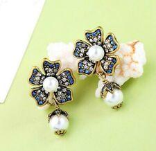 BJ New Colorful rare Alloy rhinestone Flower pearl Drop earrings Fashion Jewelry