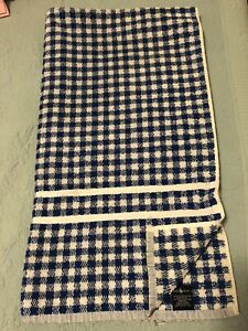 Vintage Polo Ralph Lauren Bath Towel Blue and White Gingham Plaid ~Made in USA ~
