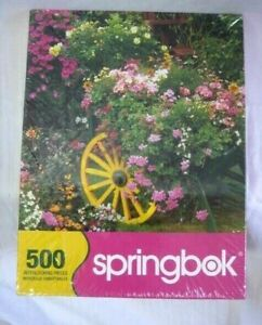 Springbok Puzzle 500 Piece Blooming Cart Flowers Garden Pink Green New Sealed