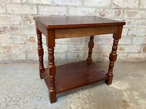 Mahogany Style Wooden Coffee Side Table with Shelf
