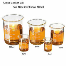 1 Set 5 Sizes Glass Beaker 5 10 25 50 100ml Borosilicate Measuring Lab Glassware