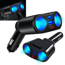 Car Cigarette Lighter Socket Adapters Digital Dual USB Charger 2-Way Accessories