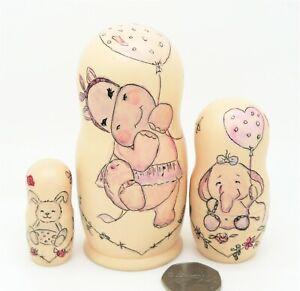 CUTE Hippo Elephant Bunny Russian nesting dolls 3 SMALL Hippopotamus Aksyonova