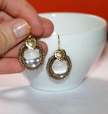 Vintage Clear Austrian heart charm Victorian artisan antiqued gold earrings