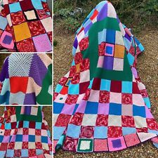 🌟Vintage Multicoloured Granny Knit Crochet Double Blanket Throw Cover Bedspread