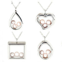 """8mm Glass Floating Locket Square Drop Oval Charm Perfume Diffuser Necklace 20"""""""