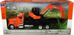 New Ray 1/32nd Peterbilt Flatbed Truck W/ Kubota KX080-4 Excavator
