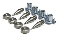 M8 Stainless Speaker Spikes+ Stainless 16mm dia Pads/Shoes + wood inserts