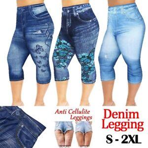 Women Capri Denim Leggings Panel Print In Jeans 3/4 Skinny Jeans Jegging Pants