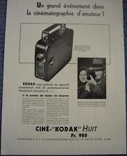 Publicité de presse CAMERA Cine KODAK Huit un grand évènement  1933  French Ad