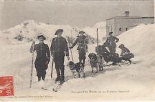 HAUTES-ALPES transport d'un malade sur un traineau chasseurs alpins ski timbrée