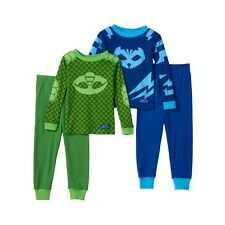 PJ Masks Little Toddler Boys Gekko and Catboy 4 pc Green and Blue Pajama Set, 2T