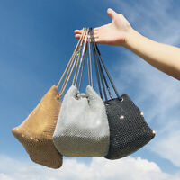 Womens Rhinestone Diamante Small Drawstring Pouch Handbag Crossbody Wristlet Bag
