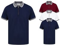 Mens Polo Shirt Short Sleeve Boys Cotton Collar Golf Tee Tipping New Zip Golf