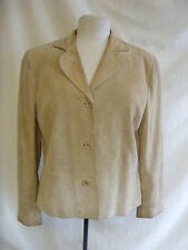 Ladies Jacket - Wrap, size 14, sand, real suede, some marks/stains, used - 0331