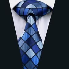 Men's Ties Blue Plaids & Checks Jacquard Woven Silk Necktie Business DN-1149