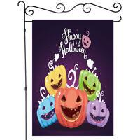 Happy Pumpkin Skull Halloween Night Garden Flag Yard Banner Decor House Flags