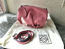 Auth Loewe Pink Elephant Animal mini leather shoulder bag removable strap