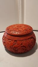 chinese carved cinnabar and black lacquer large covered bowl