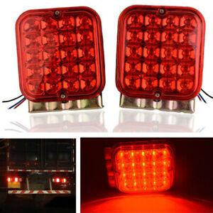 2Pcs Truck Trailer Super Bright Red LED Tail Brake Turn Signal Lights Waterproof