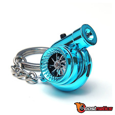 Boostnatics Rechargeable Electric Turbo Keychain Keyring - Sounds & LED - Blue