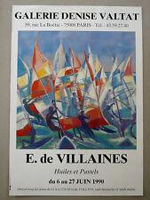 E. de VILLAINES Affiche originale PLANCHES À VOILES Gal.Denise Valtat Sport Mer