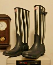 NEW Black and White Stripe Hunter rain rubber boots wellies  10