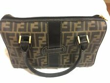 Fendi Canvas Leather Speedy Handbag Purse Made In Italy