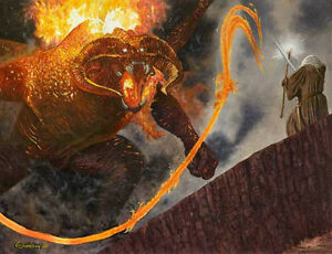 GANDALF and the BALROG LORD OF THE RINGS ART PRINT