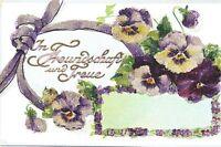16259 Kitsch Ak ,en Relieve, Motivo Floral, En Amistad Y Treue Alrededor De 1915