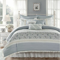 BEAUTIFUL COTTAGE BLUE WHITE GREY COUNTRY LACE RUFFLE COTTON DUVET COVER SET NEW
