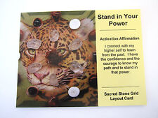 STAND IN YOUR POWER Grid Card Crystal Healing Cardstock 4x5inch Jaguar Totem