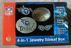Tennessee Titans 4-in-1 Jewelry Trinket Box with Necklace and Earrings Lid Pin