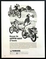 "1966 Yamaha Twin Jet 100 Motorcycle art ""Discover Swinging"" vintage print ad"